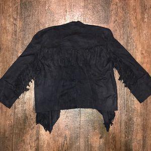 Black suede and fringe jacket / blazer
